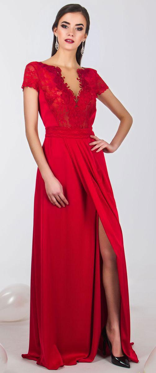 Платье Seam, цвет: темно-красный. 4660_404. Размер S (44)4660_404Стильное платье Seam выполнено из полиэстера с добавлением спандекса. Платье-макси с круглым вырезом горловины и короткими кружевными рукавами. Лиф модели оформлен вставками из сетчатого и кружевного материала и декорирован вышитыми цветами. Двойная юбка модели имеет небольшой запах. По талии платье присобрано на резинку и дополнена мягкими складками. К изделию прилагается текстильный пояс застегивающийся на пуговицу.