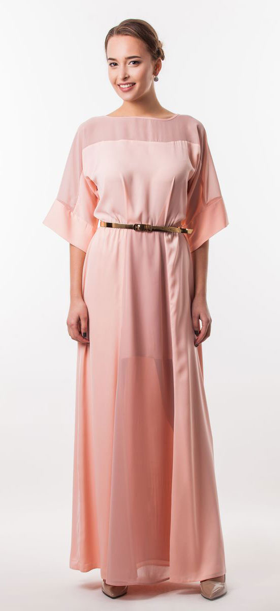 Платье Seam, цвет: розово-персиковый. 4530_306. Размер M (46)4530_306Очаровательное вечернее платье Seam, выполненное из высококачественного полиэстера, оно отлично сидит по фигуре и подчеркнет ваши достоинства. Платье-макси с цельнокроеными рукавами 1/2 и круглым вырезом горловины не имеет застежек. Верх и перед модели дополнены вставками из прозрачной ткани. В поясе модель дополнена эластичной резинкой и декоративным контрастным ремешком.