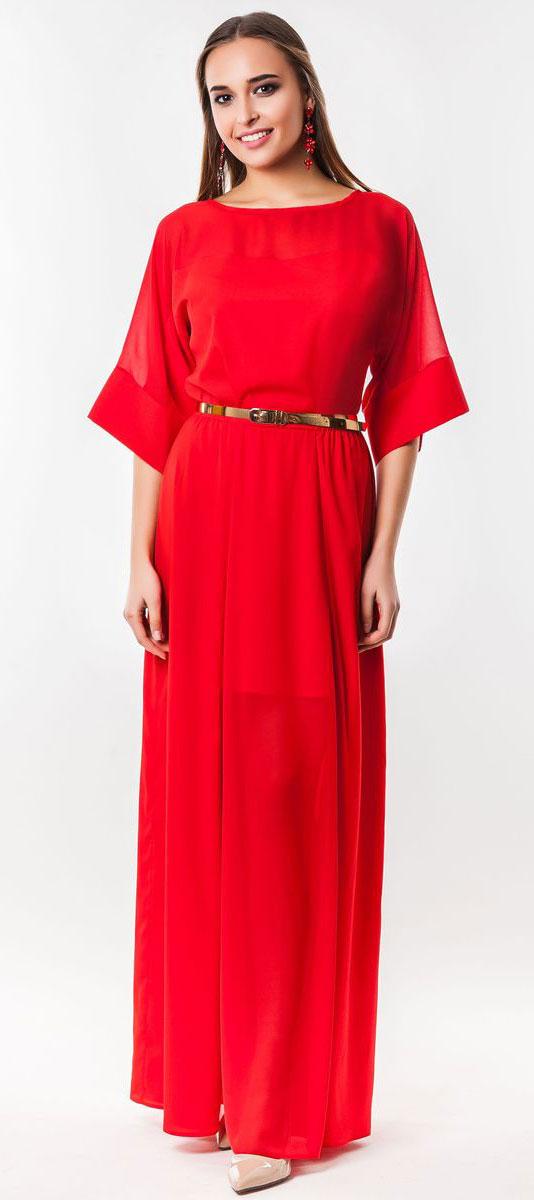 Платье Seam, цвет: красный. 4530_404. Размер S (44)4530_404Очаровательное вечернее платье Seam, выполненное из высококачественного полиэстера, оно отлично сидит по фигуре и подчеркнет ваши достоинства. Платье-макси с цельнокроеными рукавами 1/2 и круглым вырезом горловины не имеет застежек. Верх и перед модели дополнены вставками из прозрачной ткани. В поясе модель дополнена эластичной резинкой и декоративным контрастным ремешком.