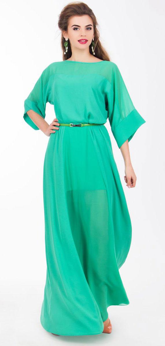 Платье Seam, цвет: мятный. 4530_801. Размер S (44)4530_801Очаровательное вечернее платье Seam, выполненное из высококачественного полиэстера, оно отлично сидит по фигуре и подчеркнет ваши достоинства. Платье-макси с цельнокроеными рукавами 1/2 и круглым вырезом горловины не имеет застежек. Верх и перед модели дополнены вставками из прозрачной ткани. В поясе модель дополнена эластичной резинкой и декоративным контрастным ремешком.
