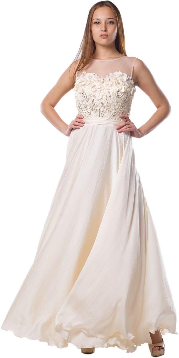 Платье Seam, цвет: ванильный. 4650_201. Размер S (44)4650_201Очаровательное вечернее платье Seam, выполненное из высококачественного полиэстера с добавлением спандекса, оно отлично сидит по фигуре и подчеркнет ваши достоинства. Платье-макси без рукавов и с круглым вырезом горловины застегивается сзади по спинке на застежку-молнию и небольшой крючок. Верх модели выполнен из сетчатой ткани и оформлен декоративной аппликацией из ткани и небольших пайеток. В поясе платье дополнено пришитымконтрастным пояском.