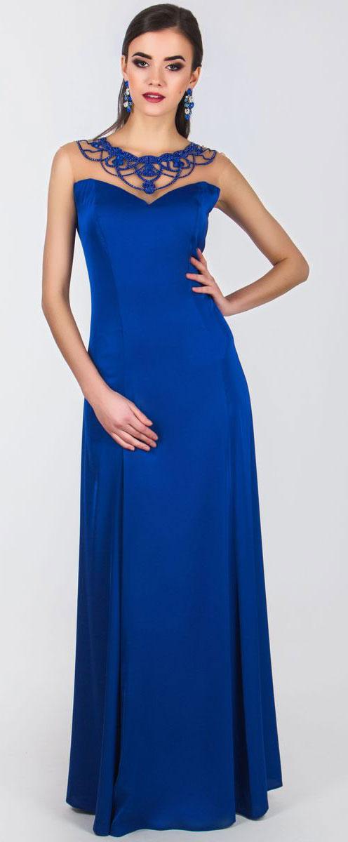 Платье Seam, цвет: синий. 4460_706. Размер S (44)4460_706Очаровательное платье Seam выполнено из полиэстера с добавлением спандекса, оно отлично сидит по фигуре и подчеркнет ваши достоинства. Платье-макси без рукавов имеет застежки-крючки и потайную молнию на спинке. Верх модели выполнен из сетчатой ткани и оформлен элегантной аппликацией с вышивкой из бусин, бисера и ткани.