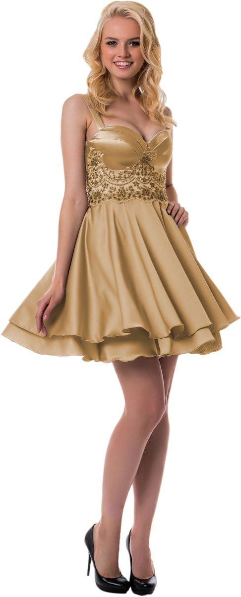 Платье Seam, цвет: золотой. GERBERA. Размер L (48)GERBERAЭлегантное платье Seam выполнено из высококачественного эластичного полиэстера. Модель на бретелях, которые легко регулируются по длине, выполнена с твердым лифом, что выгодно подчеркнет все достоинства вашей фигуры. Платье-миди завязывается сзади на шнуровку. Лиф украшен сетчатой тканью с очаровательной вышивкой из люрекса, пайеток и бисера. Низ модели красиво драпируется и выполнен из двух слоев ткани. Изысканное платье создаст обворожительный и неповторимый образ.