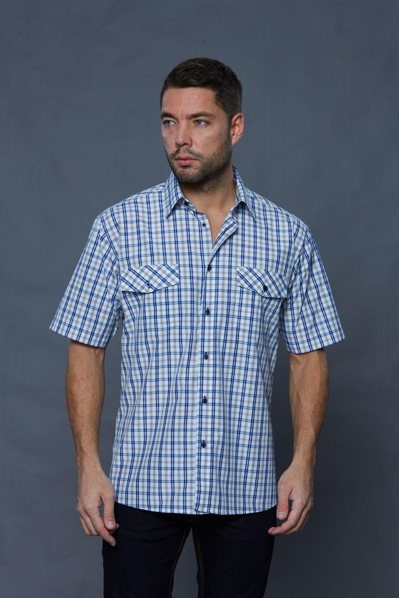 Рубашка мужская John Jeniford, цвет: синий, белый. JJc-k-161321-N3. Размер XXXL (58-60) jjc lc 58