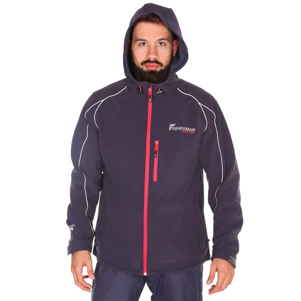 Куртка мужская FisherMan Nova Tour Грейлинг PRO, цвет: графит. 95430-924. Размер S (50)95430-924Куртка из мембранной ткани Soft Shell, обладающая отличной паропроводимостью, очень приятная к телу, не стесняет и не сковывает движение. Без труда выдерживает ветер и небольшой дождь, имеет анатомический крой, теплые карманы для рук и удобный капюшон. Отлично подойдет как для активной, так и для сидячей рыбалки.