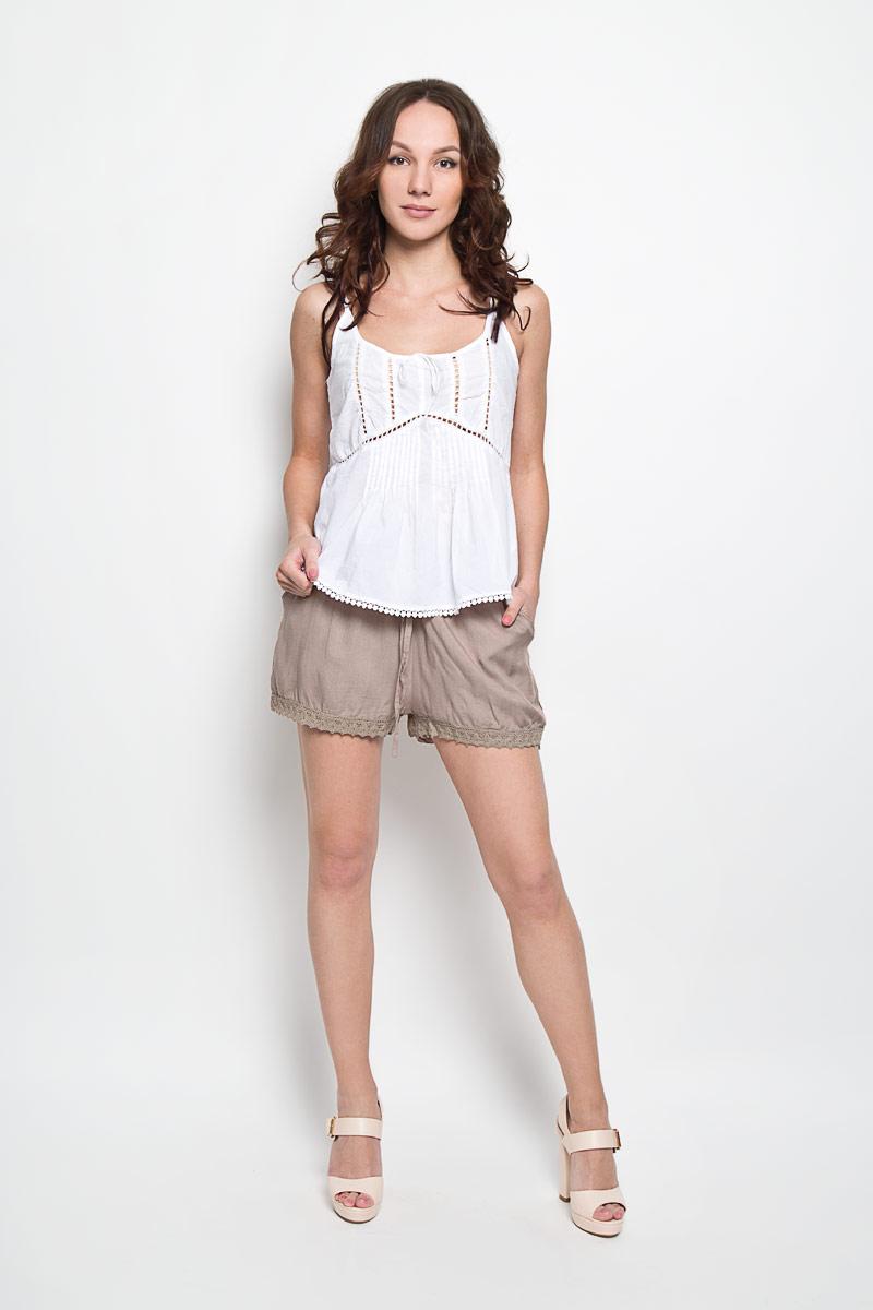 Шорты женские Broadway Frangsca, цвет: серо-бежевый. 10156334 756. Размер S (44)10156334 756Короткие женские шорты Broadway Frangsca станут прекрасным дополнением к летнему гардеробу. Они изготовлены из вискозы, мягкие и приятные на ощупь, не сковывают движения, обеспечивая наибольший комфорт. Модель на талии имеет широкую эластичную резинку с затягивающимся шнурком. Спереди шорты дополнены двумя втачными карманами со скошенными краями. Низ брючин оформлен вязаными вставками.Эти шорты - идеальный вариант для жарких летних дней.