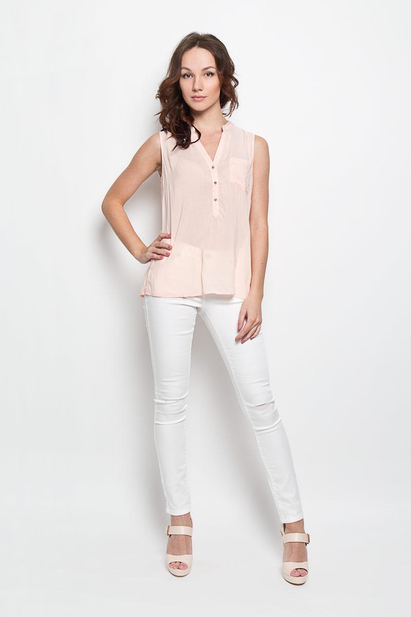 Блузка женская Broadway Grecia, цвет: нежно-розовый. 10156379 387. Размер XL (50)10156379 387Стильная женская блузка Broadway, выполненная из 100% вискозы, подчеркнет ваш уникальный стиль и поможет создать женственный образ. Модель c круглым вырезом горловины и без рукавов. Спереди блуза дополнена небольшим накладным карманом и застегивается на три пуговицы. Спинка модели немного удлинена. В боковых швах обработаны небольшие разрезы. Такая блузка будет дарить вам комфорт в течение всего дня и послужит замечательным дополнением к вашему гардеробу.