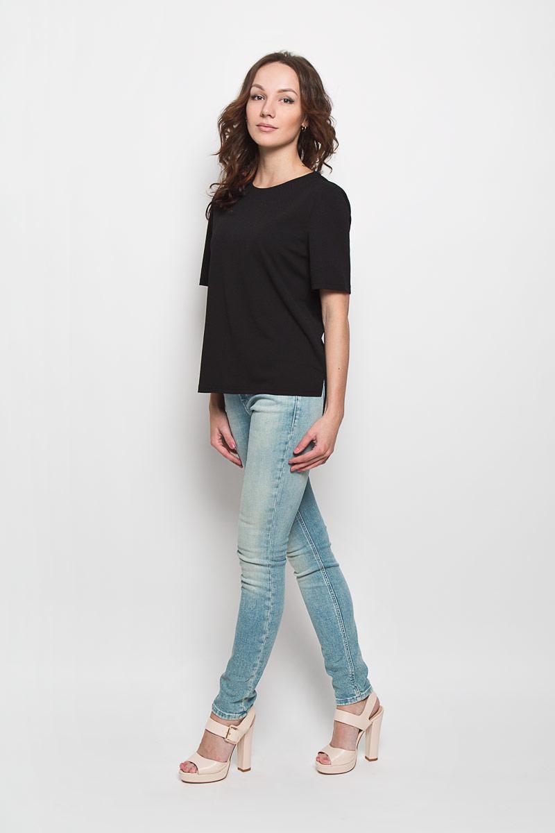 Блуза женская Glamorous, цвет: черный. CK2519. Размер M (46)CK2519Стильная женская блузка Glamorous, выполненная из полиэстера с добавлением эластана, подчеркнет ваш уникальный стиль и поможет создать женственный образ. Модель c круглым вырезом горловины и короткими рукавами. Сзади блуза застегивается на застежку-молнию. Спинка модели немного удлинена. В боковых швах обработаны небольшие разрезы. Такая блузка будет дарить вам комфорт в течение всего дня и послужит замечательным дополнением к вашему гардеробу.