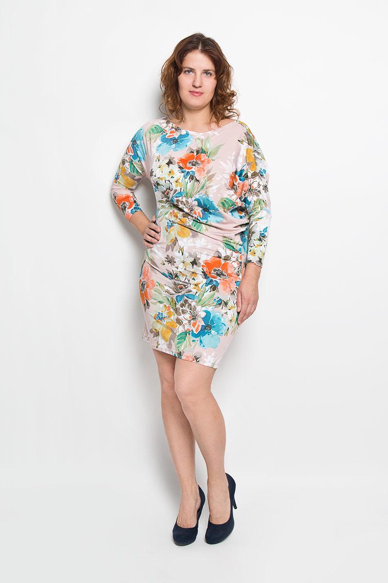 Платье Milana Style, цвет: мультиколор. 20216_2. Размер XXL (52)20216-2Платье Milana Style идеально подойдет для вас и станет стильным дополнением к вашему гардеробу. Выполненное из мягкого гладкого материала, оно очень приятное на ощупь, не сковывает движений и хорошо вентилируется. Модель с вырезом горловины лодочка и рукавами-летучая мышь длиной 3/4 оформлена цветочным принтом. За счёт асимметричности рукавов платье в области талии изящно драпируется, что позволяет подчеркнуть достоинства фигуры. Такое платье поможет создать яркий и привлекательный образ, который не оставит вас незамеченной.
