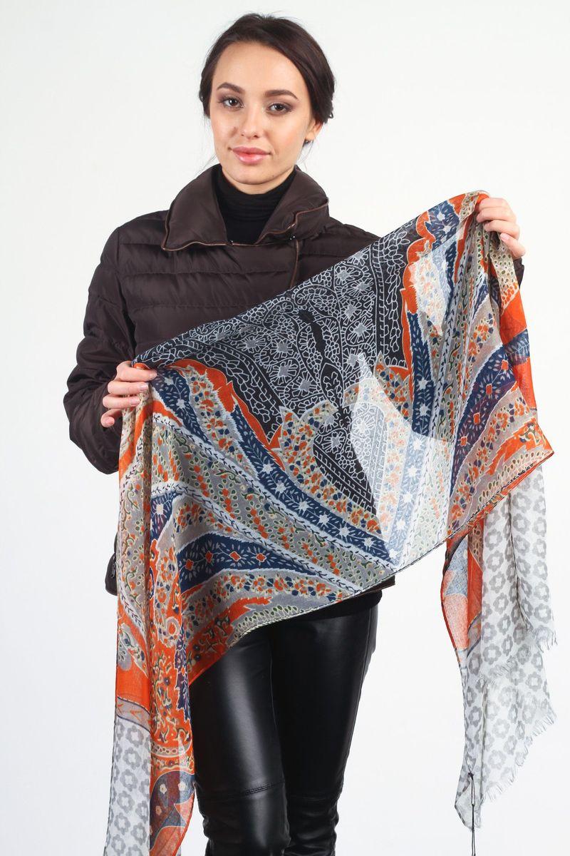 Шарф женский Laura Milano, цвет: серый, оранжевый, темно-синий. ZF-1264-3. Размер 60 см х 180 смZF-1264-3Стильный женский шарф Laura Milano станет великолепным завершением любого наряда.Шарф изготовлен из 100% вискозы и оформлен оригинальным принтом. По краям модель дополнена неширокой бахромой. Изящный шарф поможет вам создать изысканный женственный образ, а также согреет в непогоду. <br