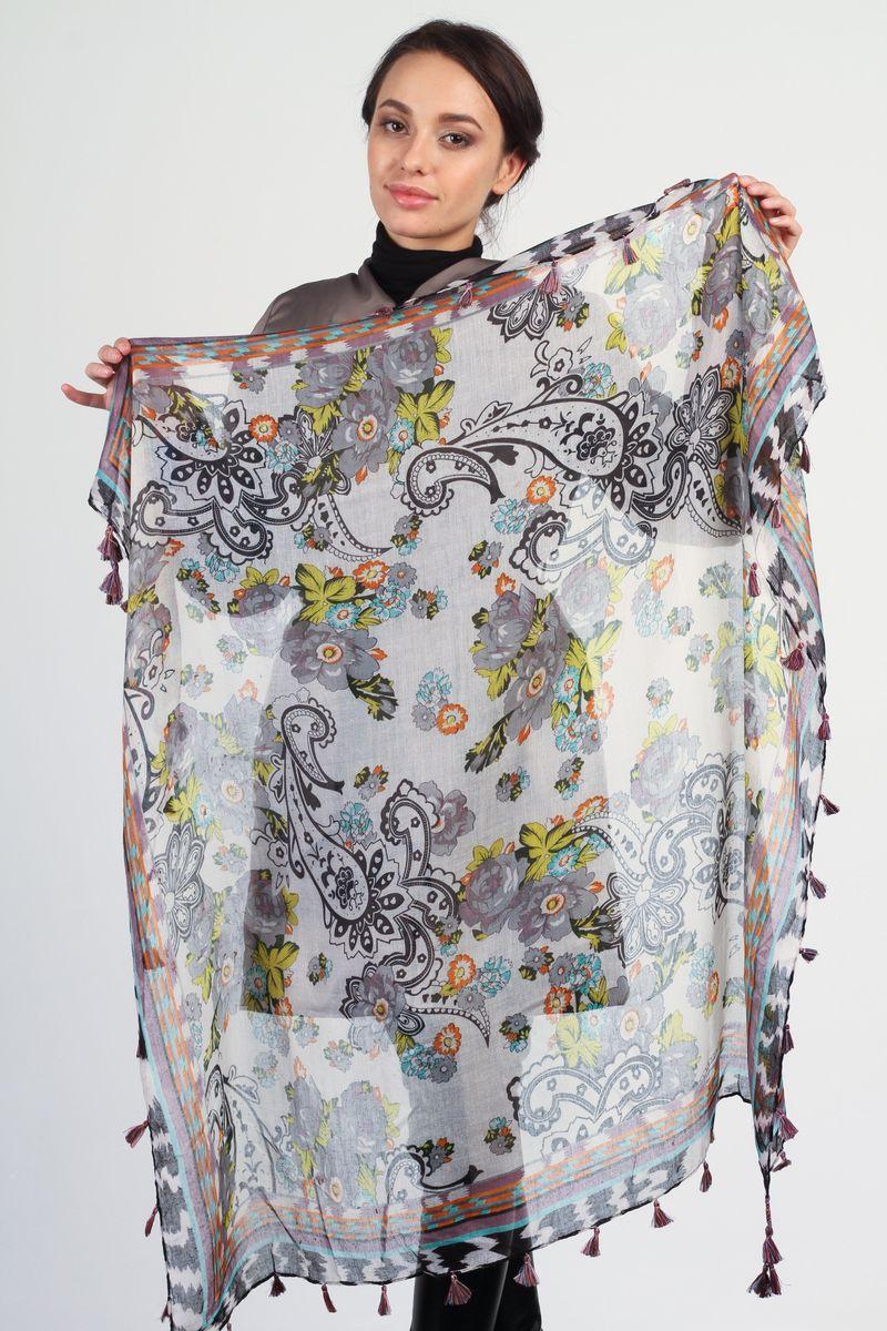 Платок женский Tommy, цвет: серый, желтый, черный. BK4453-1. Размер 100 см x 100 смBK4453-1Стильный женский платок Tommy станет великолепным завершением любого наряда. Платок изготовлен из вискозы с добавлением шелка и оформлен ярким принтом. По краям платок украшен кистями бахромы. Мягкий и широкий платок поможет вам создать изысканный женственный образ, а также согреет в непогоду.
