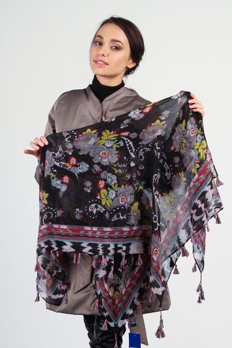 Платок женский Tommy, цвет: черный, желтый, красный. BK4453-3. Размер 100 см x 100 смBK4453-3Стильный женский платок Tommy станет великолепным завершением любого наряда. Платок изготовлен из вискозы с добавлением шелка и оформлен ярким принтом. По краям платок украшен кистями бахромы. Мягкий и широкий платок поможет вам создать изысканный женственный образ, а также согреет в непогоду.