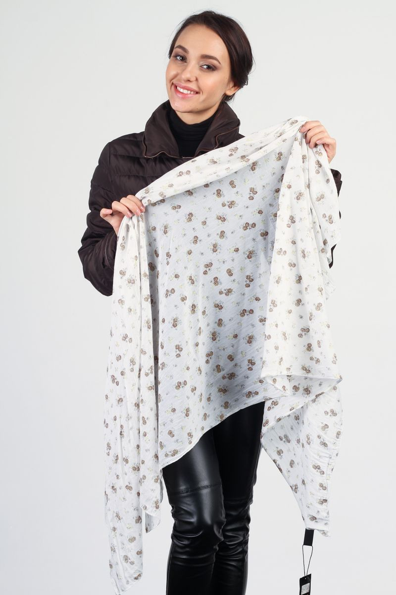 Палантин Laura Milano, цвет: белый, коричневый. CS-SC16-1. Размер 80 см x 160 смCS-SC16-1Стильный женский палантин Laura Milano станет великолепным завершением любого наряда.Палантин изготовлен из шелка и хлопка, и оформлен оригинальным принтом.Легкий и изящный палантин поможет вам создать изысканный женственный образ, а также согреет в непогоду.