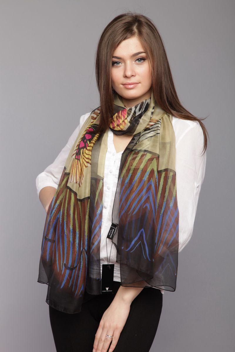 Палантин Fiona Fantozzi, цвет: бежевый, синий, черный. HL-0010-1. Размер 100 см х 180 смHL-0010-1Стильный женский палантин Tommy станет великолепным завершением любого наряда.Палантин изготовлен из натурального шелка и оформлен оригинальными узорами.Легкий и изящный палантин поможет вам создать изысканный женственный образ, а также согреет в непогоду.