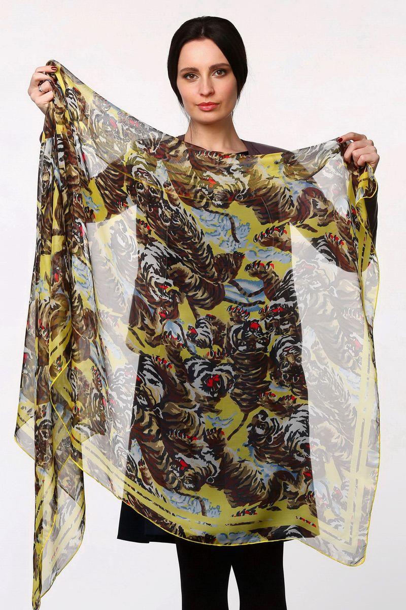 Палантин Sophie Ramage, цвет: желтый, коричневый, голубой. HL-11517-14. Размер 80 см х 180 смHL-11517-14Стильный женский палантин Sophie Ramage станет великолепным завершением любого наряда.Палантин изготовлен из полиэстера с добавлением шелка и оформлен принтом с изображением тигров.Легкий и изящный палантин поможет вам создать изысканный женственный образ, а также согреет в непогоду.
