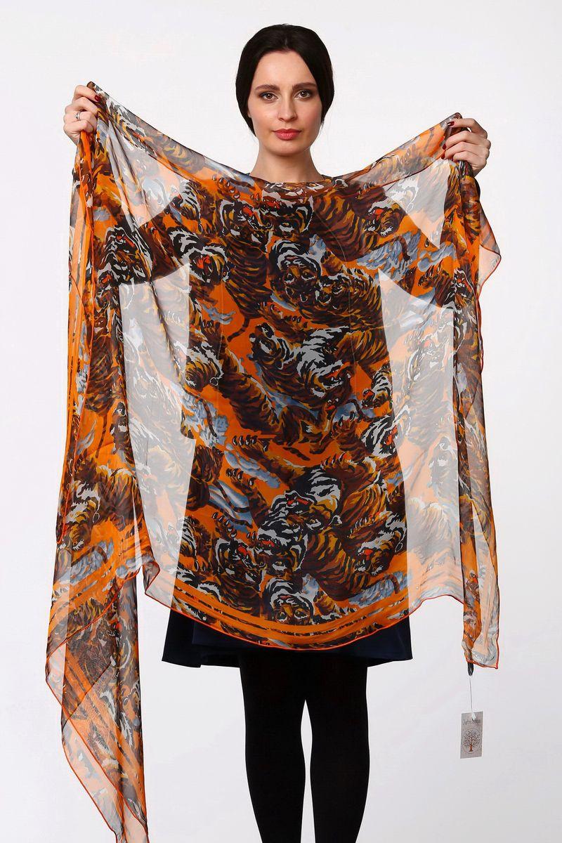 Палантин Sophie Ramage, цвет: оранжевый, коричневый, голубой. HL-11517-15. Размер 80 см х 180 смHL-11517-15Стильный женский палантин Sophie Ramage станет великолепным завершением любого наряда.Палантин изготовлен из полиэстера с добавлением шелка и оформлен принтом с изображением тигров.Легкий и изящный палантин поможет вам создать изысканный женственный образ, а также согреет в непогоду.