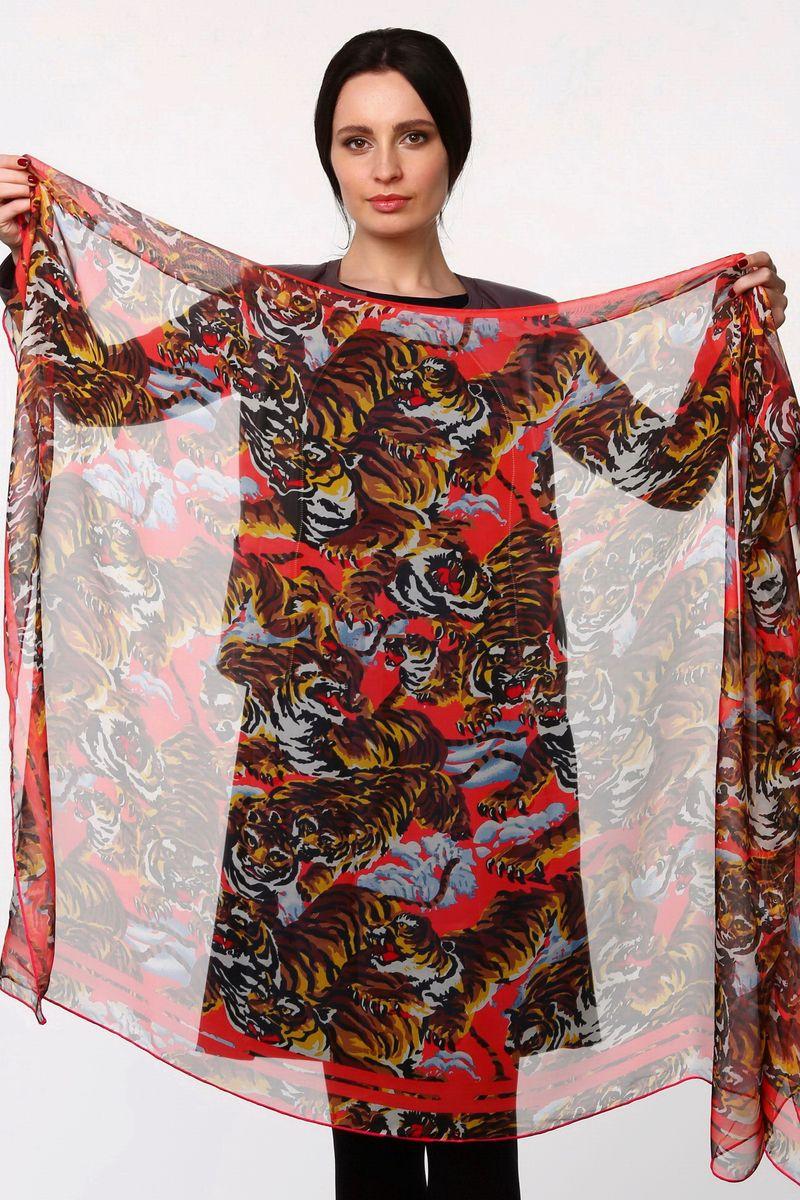 Палантин Sophie Ramage, цвет: розово-красный, коричневый, голубой. HL-11517-9. Размер 80 см х 180 смHL-11517-9Стильный женский палантин Sophie Ramage станет великолепным завершением любого наряда.Палантин изготовлен из полиэстера с добавлением шелка и оформлен принтом с изображением тигров.Легкий и изящный палантин поможет вам создать изысканный женственный образ, а также согреет в непогоду.