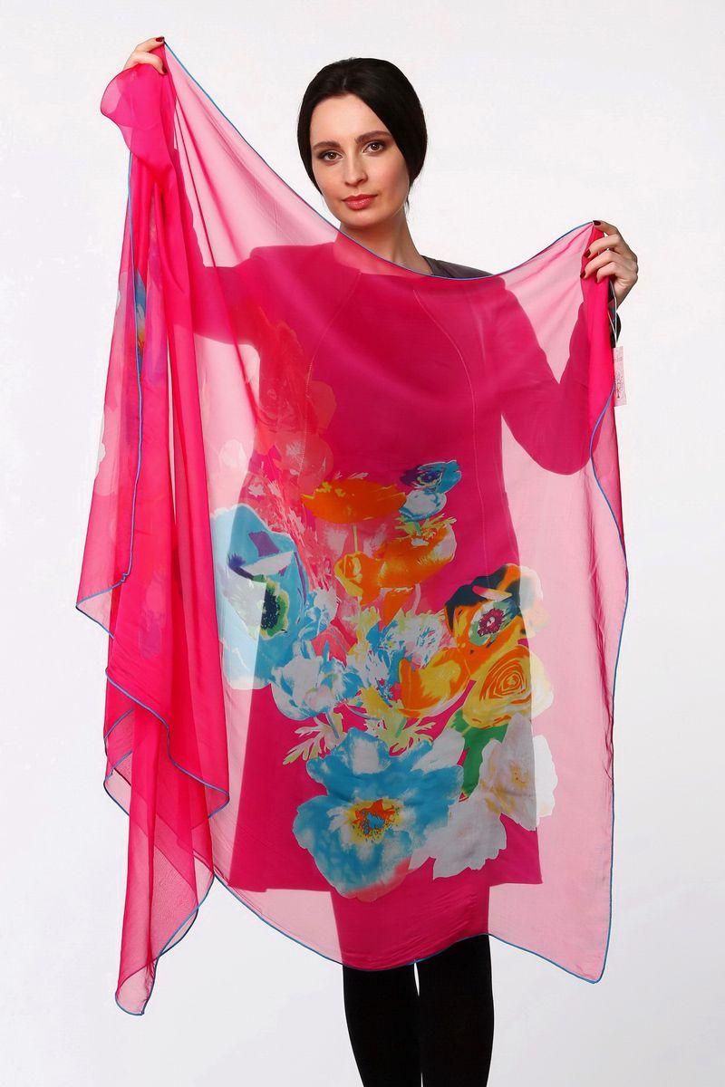 Палантин Sophie Ramage, цвет: фуксия, голубой, желтый. HL-11518-9. Размер 80 см х 180 смHL-11518-9Стильный женский палантин Sophie Ramage станет великолепным завершением любого наряда.Палантин изготовлен из шелка с добавлением полиэстера и оформлен крупным цветочным принтом.Легкий и изящный палантин поможет вам создать изысканный женственный образ, а также согреет в непогоду.