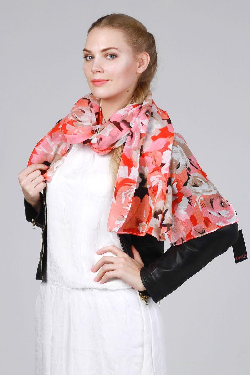 Палантин Laura Milano, цвет: розовый, морковный, серый. RD-1111-1. Размер 60 см х 150 смRD-1111-1Стильный женский палантин Laura Milano станет великолепным завершением любого наряда.Палантин изготовлен из модала и хлопка, и оформлен крупным цветочным принтом. Изящный палантин поможет вам создать изысканный женственный образ, а также согреет в непогоду.