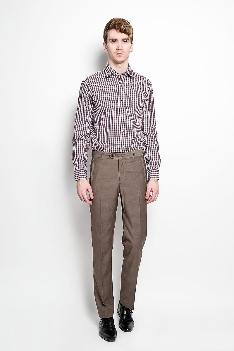 Рубашка мужская KarFlorens, цвет: белый, бордовый, черный, серый. SW 67-05. Размер 41/42 (50-52/176)SW 67-05Мужская рубашка KarFlorens, изготовленная из высококачественного хлопка, необычайно мягкая и приятная на ощупь, она не сковывает движения и позволяет коже дышать, обеспечивая комфорт.Модель приталенного кроя, с отложным воротником, длинными рукавами и полукруглым низом застегивается на пластиковые пуговицы. Манжеты со шлицами, срезанными уголками и застежкой на пуговицы. Ширину манжет можно варьировать, благодаря дополнительной пуговице. Пуговицы декорированы логотипом KarFlorens, на правой манжете расположена вышивка-логотип. Модель оформлена стильным принтом в клетку.Эта рубашка - идеальный вариант для повседневного гардероба. Такая модель порадует настоящих ценителей комфорта и практичности!