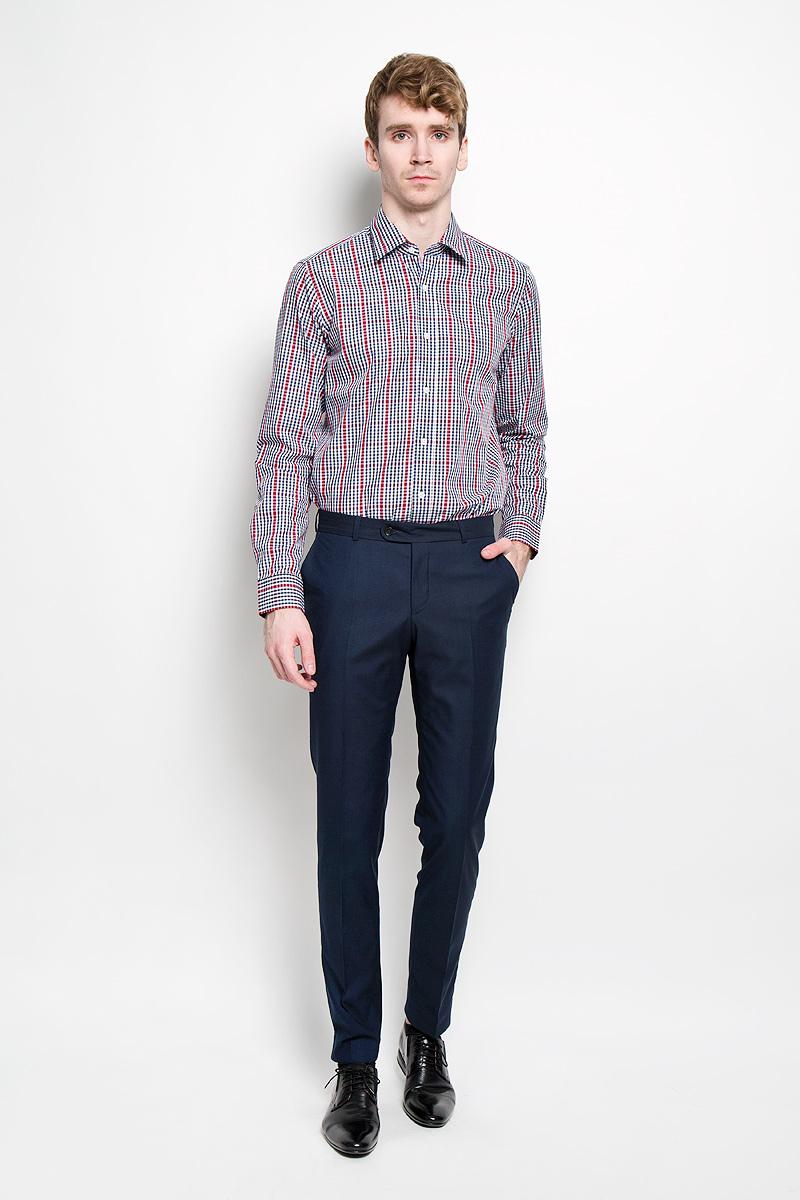 Рубашка мужская KarFlorens, цвет: темно-синий, белый, темно-красный. SW 67-04. Размер 41/42 (50-52/176)SW 67-04Мужская рубашка KarFlorens, изготовленная из высококачественного хлопка, необычайно мягкая и приятная на ощупь, она не сковывает движения и позволяет коже дышать, обеспечивая комфорт.Модель приталенного кроя, с отложным воротником, длинными рукавами и полукруглым низом застегивается на пластиковые пуговицы. Манжеты со шлицами, срезанными уголками и застежкой на пуговицы. Ширину манжет можно варьировать, благодаря дополнительной пуговице. Пуговицы декорированы логотипом KarFlorens, на правой манжете расположена вышивка-логотип. Модель оформлена стильным принтом в клетку.Эта рубашка - идеальный вариант для повседневного гардероба. Такая модель порадует настоящих ценителей комфорта и практичности!