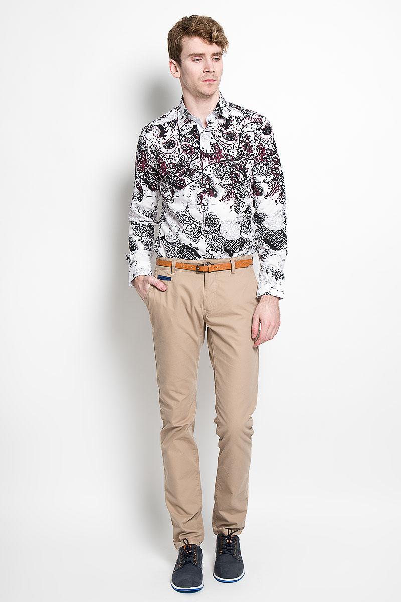 Рубашка мужская KarFlorens, цвет: белый, бордовый, черный. SW 85_04. Размер 37/38 (44-46/176)SW 85_04Стильная мужская рубашка KarFlorens, изготовленная из высококачественного хлопка и бамбука, необычайно мягкая и приятная на ощупь, не сковывает движения и обеспечивает наибольший комфорт.Модная рубашка приталенного кроя с отложным воротником, длинными рукавами и полукруглым низом застегивается на пластиковые пуговицы квадратной формы. Пуговицы оформлены тиснением с названием бренда. Манжеты со срезанными уголками и регулировкой ширины также застегиваются на пуговицы. Эта рубашка станет идеальным вариантом для повседневного гардероба. Она порадует настоящих ценителей комфорта и практичности!