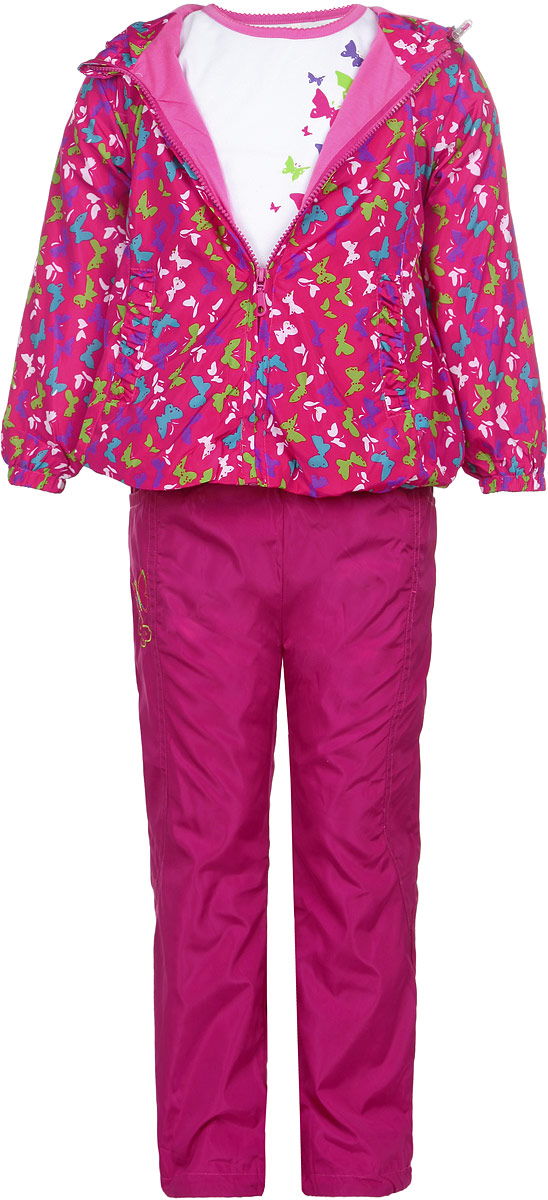 Комплект для девочки M&D: футболка с длинным рукавом, ветровка, брюки, цвет: малиновый, белый. 104397D-6. Размер 104104397D-6Комплект для девочки M&D, состоящий из футболки с длинным рукавом, ветровки и брюк, идеально подойдет для вашего ребенка в прохладное время года.Ветровка изготовлена из 100% полиэстера с подкладкой из натурального хлопка. Модель с несъемным капюшоном застегивается на пластиковую застежку-молнию с защитой подбородка. На капюшоне предусмотрена утяжка в виде резинки со стопперами. Низ рукавов присборен на резинки. Линия талии на спинке также дополнена резинкой. Спереди имеются два прорезных кармана. Оформлена ветровка красочным принтом. Брюки выполнены из 100% полиэстера с подкладкой из натурального хлопка. Модель на талии имеет широкую резинку, благодаря чему брюки не сдавливают живот ребенка и не сползают. По бокам модель дополнена двумя втачными кармашками со скошенными краями. Оформлено изделие аппликацией и вышивкой в виде бабочек. Футболка с длинным рукавом изготовлена из натурального хлопка. Модель с круглым вырезом горловины оформлена на груди ярким принтом. Комфортный, удобный и практичный комплект идеально подойдет для прогулок и игр на свежем воздухе!