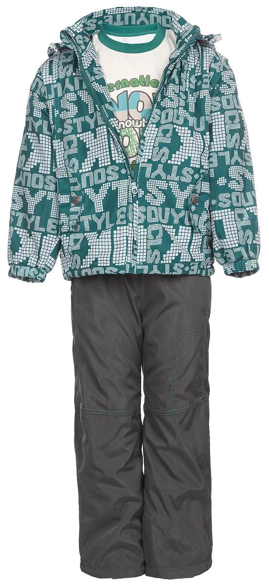 Комплект для мальчика M&D: футболка с длинным рукавом, куртка, брюки, цвет: темно-бирюзовый, белый, темно-серый. 104253RD-28. Размер 104104253RD-28Комплект для мальчика M&D, состоящий из футболки с длинным рукавом, куртки и брюк, идеально подойдет для вашего ребенка в прохладное время года.Куртка изготовлена из 100% полиэстера с подкладкой из мягкого флиса. Модель с воротником-стойкой, съемным капюшоном на молнии и длинными рукавами застегивается на пластиковую застежку-молнию с защитой подбородка. Низ рукавов присборен на резинки. Предусмотрена утяжка в виде резинок со стопперами: на капюшоне и внутри изделия понизу. Спереди имеются два прорезных кармана, украшенные клапанами с декоративными кнопками. Оформлена куртка оригинальным принтом. Брюки выполнены из 100% полиэстера с подкладкой из натурального хлопка. Модель на талии имеет широкую резинку, благодаря чему брюки не сдавливают живот ребенка и не сползают. По бокам модель дополнена двумя втачными кармашками со скошенными краями. Понизу брючин предусмотрена утяжка в виде резинок со стопперами. Оформлено изделие контрастной прострочкой и металлическими клепками.Светоотражающие элементы на куртке и брюках не оставят вашего ребенка незамеченным в темное время суток. Футболка с длинным рукавом изготовлена из натурального хлопка. Модель с круглым вырезом горловины оформлена на груди оригинальным принтом. Горловина дополнена мягкой трикотажной резинкой. Комфортный, удобный и практичный комплект идеально подойдет для прогулок и игр на свежем воздухе!