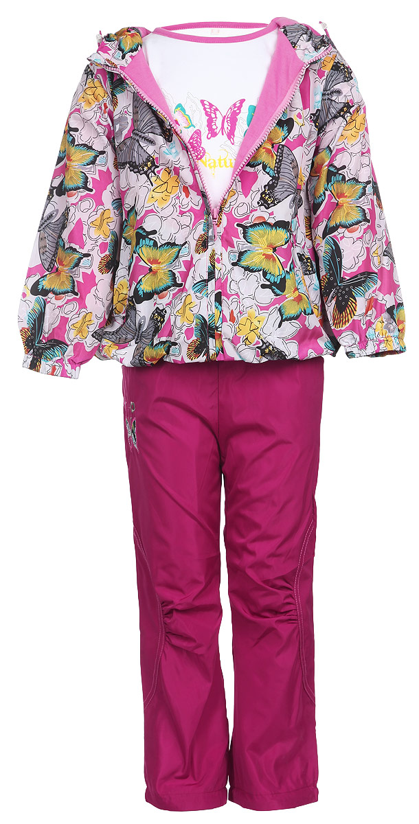 Комплект для девочки M&D: футболка с длинным рукавом, ветровка, брюки, цвет: розовый, бледно-сиреневый, фуксия, белый. 104395D-6. Размер 110104395D-6Комплект для девочки M&D, состоящий из футболки с длинным рукавом, ветровки и брюк, идеально подойдет для вашего ребенка в прохладное время года.Ветровка изготовлена из 100% полиэстера с подкладкой из натурального хлопка. Модель с несъемным капюшоном и длинными рукавами застегивается на пластиковую застежку-молнию с защитой подбородка. На капюшоне предусмотрена утяжка в виде резинки со стопперами. Низ рукавов присборен на резинки. Линия талии на спинке также дополнена резинкой. Спереди имеются два прорезных кармана на застежках-молниях. Оформлена ветровка красочным принтом в виде бабочек и цветов. Брюки выполнены из 100% полиэстера с подкладкой из натурального хлопка. Модель на талии имеет широкую резинку, благодаря чему брюки не сдавливают живот ребенка и не сползают. По бокам модель дополнена двумя втачными кармашками со скошенными краями. Понизу брючин предусмотрена утяжка в виде резинок со стопперами. Оформлено изделие нашивкой в виде бабочки и вышитыми цветочками. Футболка с длинным рукавом изготовлена из натурального хлопка. Модель с круглым вырезом горловины оформлена на груди принтом в виде бабочек на листьях. Горловина дополнена мягкой трикотажной бейкой. Комфортный, удобный и практичный комплект идеально подойдет для прогулок и игр на свежем воздухе!