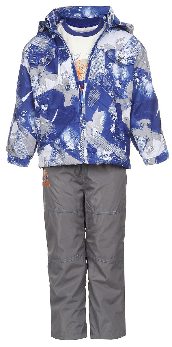 Комплект для мальчика M&D: футболка с длинным рукавом, куртка, брюки, цвет: синий, серый, белый. 3559RD-9. Размер 1043559RD-9Комплект для мальчика M&D, состоящий из футболки с длинным рукавом, куртки и брюк, идеально подойдет для вашего ребенка в прохладное время года.Куртка изготовлена из 100% полиэстера с подкладкой из мягкого флиса. Модель с воротником-стойкой, съемным капюшоном на молнии и длинными рукавами застегивается на пластиковую застежку-молнию с защитой подбородка. Низ рукавов частично присборен на резинки и дополнен хлястиками на липучках. Предусмотрена утяжка в виде резинок со стопперами: на капюшоне и внутри изделия понизу. Спереди имеются два прорезных кармана и две имитации карманов, представленных в виде клапанов с декоративными кнопками. Оформлена куртка оригинальным принтом. Брюки выполнены из 100% полиэстера с подкладкой из натурального хлопка. Модель на талии имеет широкую резинку, благодаря чему брюки не сдавливают живот ребенка и не сползают. По бокам модель дополнена двумя втачными кармашками со скошенными краями. Понизу брючин предусмотрена утяжка в виде резинок со стопперами. Оформлено изделие контрастной прострочкой и оригинальной нашивкой.Светоотражающие элементы на куртке и брюках не оставят вашего ребенка незамеченным в темное время суток. Футболка с длинным рукавом изготовлена из натурального хлопка. Модель с круглым вырезом горловины оформлена на груди оригинальным принтом. Горловина дополнена мягкой трикотажной резинкой. Комфортный, удобный и практичный комплект идеально подойдет для прогулок и игр на свежем воздухе!