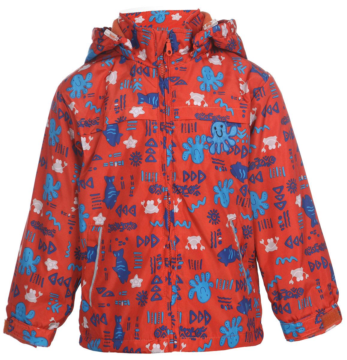 Куртка для мальчика M&D, цвет: темно-красный. 111600R-31. Размер 116111600R-31Яркая куртка для мальчика M&D идеально подойдет для ребенка в прохладное время года. Она выполнена из полиэстера и дополнена мягкой и теплой флисовой подкладкой.Куртка с воротником-стойкой застегивается на удобную застежку-молнию. Съемный капюшон фиксируется при помощи молнии, его объем регулируется при помощи скрытого эластичного шнурка со стопперами. Рукава оснащены широкими эластичными резинками, не стягивающими запястья, и хлястиками на липучках. Низ модели дополнен скрытым эластичным шнурком со стопперами. По бокам куртка дополнена двумя прорезными кармашками. Куртка оформлена красочным принтом с изображением морских животных и дополнена светоотражающими полосками на карманах и на спинке. В такой куртке ваш маленький мужчина будет чувствовать себя комфортно, уютно и всегда будет в центре внимания!
