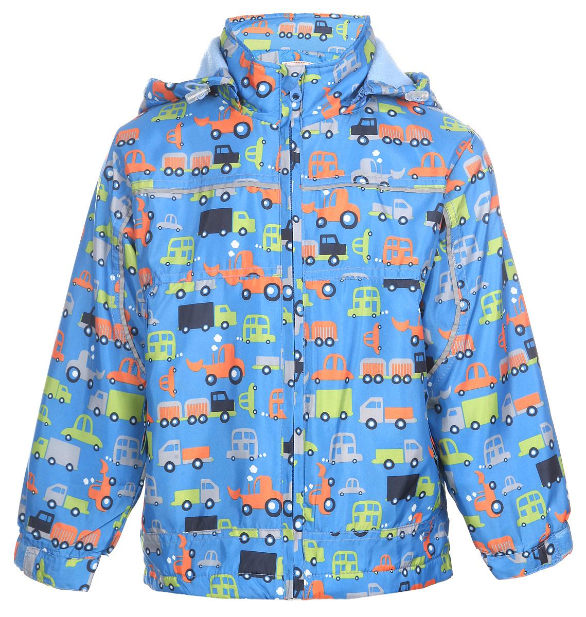 Куртка для мальчика M&D, цвет: голубой. MD111525R-10. Размер 104111525RЯркая куртка для мальчика M&D идеально подойдет для ребенка в прохладное время года. Она выполнена из полиэстера и дополнена мягкой и теплой флисовой подкладкой.Куртка с воротником-стойкой застегивается на удобную застежку-молнию. Съемный капюшон фиксируется при помощи молнии, его объем регулируется при помощи эластичного шнурка со стопперами. Рукава оснащены широкими эластичными резинками, не стягивающими запястья, и хлястиками на липучках. Низ модели дополнен скрытым эластичным шнурком со стопперами. По бокам курточка дополнена двумя втачными кармашками на застежках-молниях. Изделие оформлено красочным принтом с изображением автомобилей и дополнена светоотражающими полосками. В такой куртке ваш маленький мужчина будет чувствовать себя комфортно, уютно и всегда будет в центре внимания!