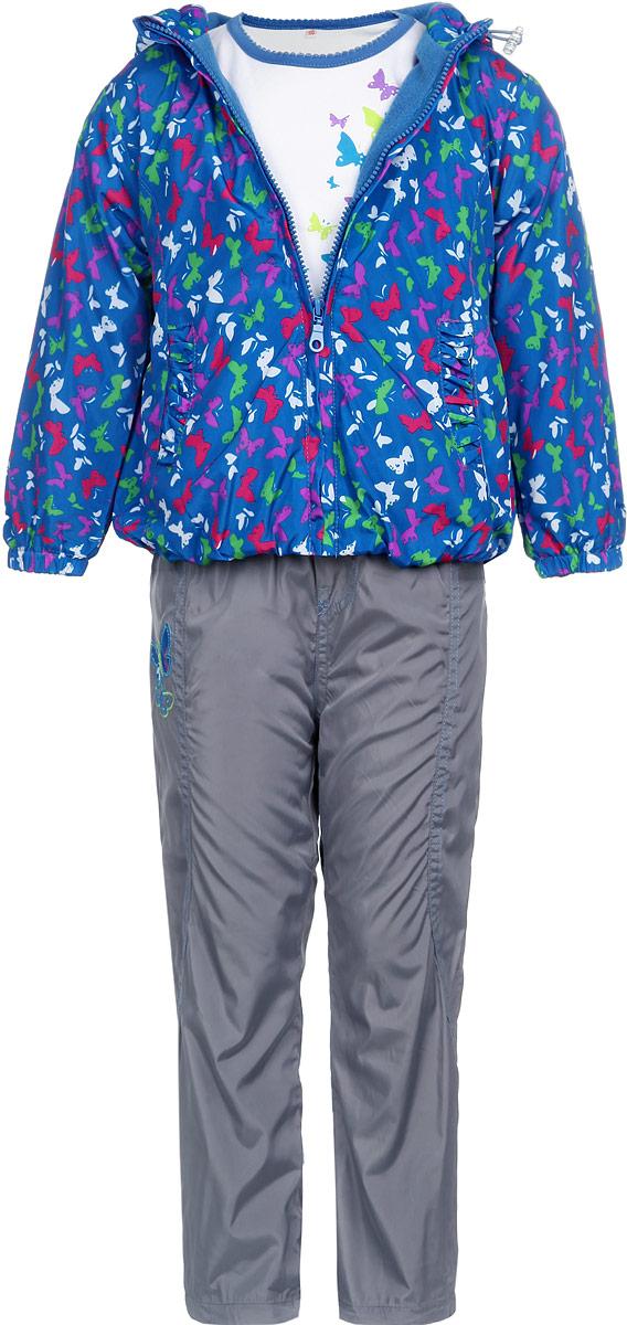 Комплект для девочки M&D: футболка с длинным рукавом, куртка, брюки, цвет: синий, серый, белый. 3397RD-9. Размер 1163397RD-9Комплект для девочки M&D, состоящий из футболки с длинным рукавом, куртки и брюк, идеально подойдет для вашего ребенка в прохладное время года.Куртка изготовлена из 100% полиэстера с мягкой подкладкой. Модель с несъемным капюшоном застегивается на пластиковую застежку-молнию с защитой подбородка. На капюшоне предусмотрена утяжка в виде резинки со стопперами. Низ рукавов присборен на резинки. Линия талии на спинке также дополнена резинкой. Спереди имеются два прорезных кармана, украшенных оборками. Оформлена куртка принтом в виде бабочек. Брюки выполнены из 100% полиэстера с подкладкой из натурального хлопка. Модель на талии имеет широкую резинку, благодаря чему брюки не сдавливают живот ребенка и не сползают. По бокам модель дополнена двумя втачными кармашками со скошенными краями. Понизу брючин предусмотрена утяжка в виде резинок со стопперами.Футболка с длинным рукавом изготовлена из натурального хлопка. Модель с круглым вырезом горловины оформлена на груди принтом в виде бабочек. Горловина дополнена мягкой трикотажной бейкой. Комфортный, удобный и практичный комплект идеально подойдет для прогулок и игр на свежем воздухе!