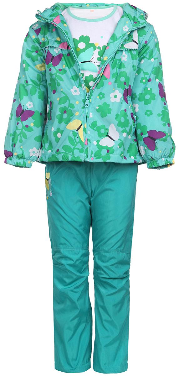 Комплект для девочки M&D: футболка с длинным рукавом, куртка, брюки, цвет: бирюзовый, зеленый, белый. 106515RD-28. Размер 92106515RD-28Комплект для девочки M&D, состоящий из футболки с длинным рукавом, куртки и брюк, идеально подойдет для вашего ребенка в прохладное время года.Куртка изготовлена из 100% полиэстера с подкладкой из мягкого флиса. Модель с несъемным капюшоном и длинными рукавами застегивается на пластиковую застежку-молнию с защитой подбородка. На капюшоне предусмотрена утяжка в виде резинки со стопперами. Линия талии на спинке также дополнена резинкой. Предусмотрена утяжка в виде резинок со стопперами: на капюшоне и внутри изделия понизу. Спереди имеются два прорезных кармана, украшенных оборками. Оформлена куртка принтом в виде цветов и бабочек. Брюки выполнены из 100% полиэстера с подкладкой из натурального хлопка. Модель на талии имеет широкую резинку, благодаря чему брюки не сдавливают живот ребенка и не сползают. По бокам модель дополнена двумя втачными кармашками со скошенными краями, а сзади - накладным карманом. Понизу брючин предусмотрена утяжка в виде резинок со стопперами. Сбоку изделие оформлено декоративной нашивкой в виде бабочки на цветке. Футболка с длинным рукавом изготовлена из натурального хлопка. Модель с круглым вырезом горловины оформлена на груди принтом в виде цветов и бабочек. Горловина дополнена мягкой трикотажной бейкой. Комфортный, удобный и практичный комплект идеально подойдет для прогулок и игр на свежем воздухе!