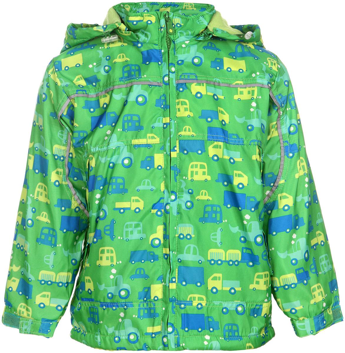 Куртка для мальчика M&D, цвет: зеленый. 111525R-13. Размер 116111525R-13Яркая куртка для мальчика M&D идеально подойдет для ребенка в прохладное время года. Она выполнена из полиэстера и дополнена мягкой и теплой флисовой подкладкой.Куртка с воротником-стойкой застегивается на удобную застежку-молнию. Съемный капюшон фиксируется при помощи молнии, его объем регулируется при помощи эластичного шнурка со стопперами. Рукава оснащены широкими эластичными резинками, не стягивающими запястья, и хлястиками на липучках. Низ модели дополнен скрытым эластичным шнурком со стопперами. По бокам курточка дополнена двумя втачными кармашками на застежках-молниях. Изделие оформлено красочным принтом с изображением автомобилей и дополнена светоотражающими полосками. В такой куртке ваш маленький мужчина будет чувствовать себя комфортно, уютно и всегда будет в центре внимания!