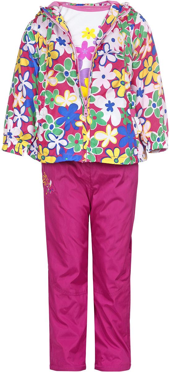 Комплект для девочки M&D: футболка с длинным рукавом, ветровка, брюки, цвет: малиновый, белый, желтый. 103539D-6. Размер 98103539D-6Комплект для девочки M&D, состоящий из футболки с длинным рукавом, ветровки и брюк, идеально подойдет для вашего ребенка в прохладное время года.Ветровка изготовлена из 100% полиэстера с подкладкой из натурального хлопка. Модель с несъемным капюшоном застегивается на пластиковую застежку-молнию с защитой подбородка. На капюшоне предусмотрена утяжка в виде резинки со стопперами. Низ рукавов присборен на резинки. Линия талии на спинке также дополнена резинкой. Спереди имеются два прорезных кармана. Оформлена ветровка цветочным принтом. Брюки выполнены из 100% полиэстера с подкладкой из натурального хлопка. Модель на талии имеет широкую резинку, благодаря чему брюки не сдавливают живот ребенка и не сползают. По бокам модель дополнена двумя втачными кармашками со скошенными краями. Оформлено изделие аппликацией и вышивкой в виде цветов. Футболка с длинным рукавом изготовлена из натурального хлопка. Модель с круглым вырезом горловины оформлена на груди ярким цветочным принтом. Комфортный, удобный и практичный комплект идеально подойдет для прогулок и игр на свежем воздухе!