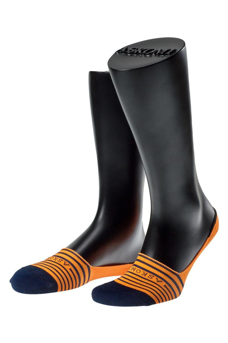 Подследники мужские Askomi Casual, цвет: оранжевый, темно-синий. АМ-5205. Размер 29 (43-44)АМ-5205_2404Мужские подследники Askomi Casual для повседневной носки выполнены из мерсеризованного хлопка с добавлением полиамида и эластана - гладкого, приятного на ощупь материала. Специальная форма носка позволяет ему оставаться невидимым в обуви. Модель имеет неощутимый силиконовый суппорт, благодаря чему подследник плотно прилегает к ноге. Кеттельный шов не ощутим для ноги.