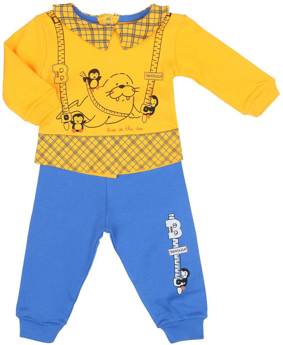 Комплект для девочки Bay & Bay: кофточка, штанишки, цвет: голубой, желтый. 2183-10. Размер 80/862183-10Комплект одежды для девочки Bay & Bay станет отличным дополнением к гардеробу маленькой принцессы. Он включает в себя кофточку и штанишки. Комплект, изготовленный из эластичного хлопка, мягкий, не раздражает нежную кожу ребенка и хорошо вентилируется, обеспечивая комфорт. Кофточка с отложным воротником и длинными рукавами застегивается сзади на металлические кнопки, что позволит легко переодеть малышку. Рукава дополнены мягкими манжетами, не пережимающими ручки крохи. Оформлена модель принтом в клетку, украшена изображением морских обитателей. Штанишки имеют на поясе мягкую эластичную резинку, благодаря чему они не сдавливают животик ребенка и не сползают. На брючинах предусмотрены манжеты. Оформлено изделие принтом с изображением пингвина.В таком комплекте ребенок всегда будет в центре внимания!