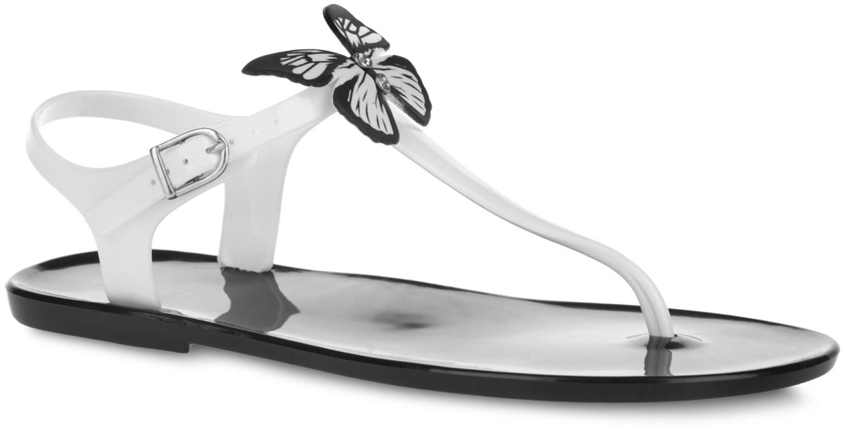 Сандалии женские Mon Ami, цвет: черный, белый. S-4061_WHITE-BLACK. Размер 39S-4061_WHITE-BLACKЧудесные женские сандалии от Mon Ami придутся вам по душе. Модель полностью выполнена из ПВХ контрастных цветов и украшена в области подъема роскошной аппликацией в виде бабочки, инкрустированной стразами. Ремешок с перемычкой и пяточный ремешок с металлической пряжкой гарантируют надежную фиксацию изделия на ноге. Верхняя поверхность подошвы декорирована принтом в виде названия бренда. Рельефное основание подошвы обеспечивает уверенное сцепление с любой поверхностью. Удобные сланцы прекрасно подойдут для похода в бассейн или на пляж.