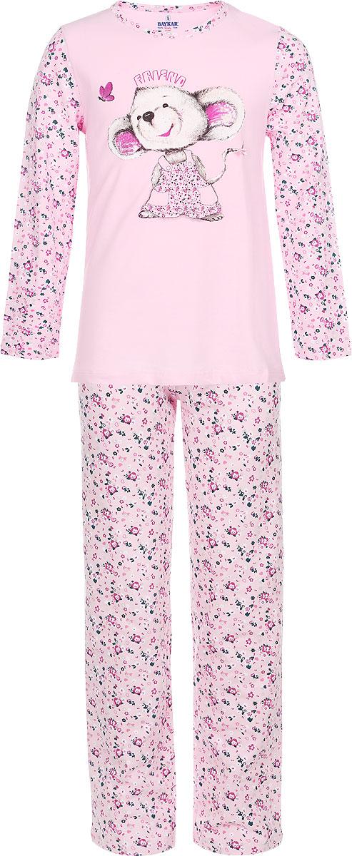 Пижама для девочки Baykar, цвет: розовый. N9014137-22. Размер 98/104NA9014-5/NB9014-5/N9014137-22Мягкая пижама для девочки Baykar, состоящая из футболки с длинным рукавом и брюк, идеально подойдет ребенку для отдыха и сна. Модель выполнена из эластичного хлопка, очень приятная к телу, не сковывает движения, хорошо пропускает воздух. Футболка с круглым вырезом горловины и длинными рукавами оформлена изображением забавной мышки и цветочным принтом.Брюки на талии имеют мягкую резинку, благодаря чему они не сдавливают животик ребенка и не сползают. Изделие оформлено цветочным принтом.В такой пижаме ребенок будет чувствовать себя комфортно и уютно!