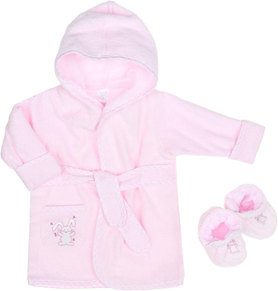 Комплект для девочки Spasilk Зайка: халат, пинетки, цвет: светло-розовый. 300-103. Размер 0/9 месяцев
