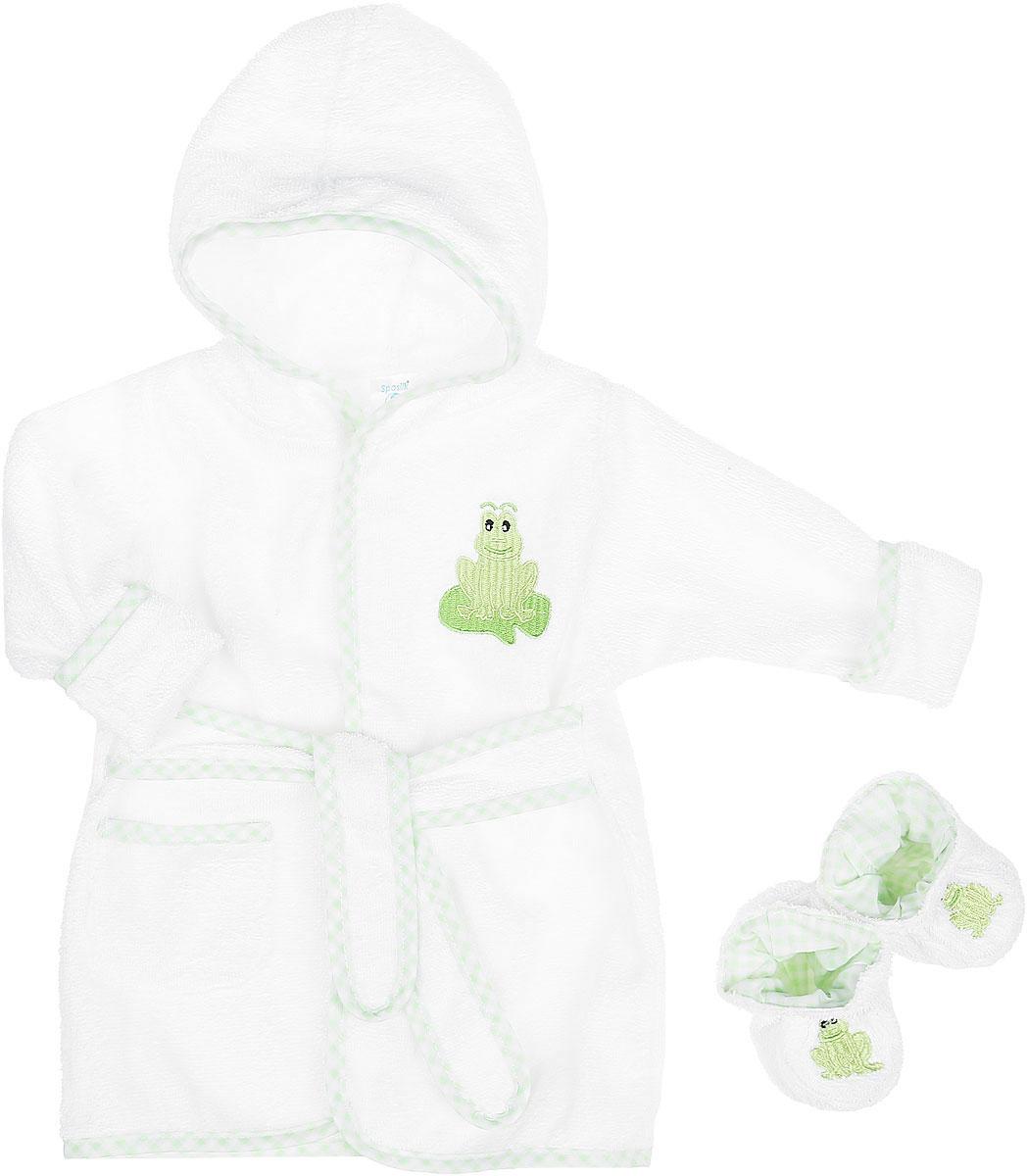 Комплект детский Spasilk Лягушка: халат, пинетки, цвет: белый, светло-зеленый. BR W05. Размер 0/9 месяцевBR W05Очаровательный комплект одежды Spasilk Лягушка состоит из халатика и пинеток. Комплект изготовлен из мягкой махровой ткани, которая отлично поглощает воду, массирует кожу, улучшая кровообращение, позволяет телу дышать. Изделие легкое и тактильно приятное. Уютный халат с капюшоном и длинными рукавами дополнен поясом на талии. На рукавах имеются декоративные отвороты. Спереди расположен накладной кармашек. Края изделия оформлены принтованной окантовкой. Модель украшена вышитой аппликацией в виде лягушки.На пинетках предусмотрена легкая хлопковая подкладка, оформленная принтом в клетку. Пинетки присборены на мягкие эластичные резинки для фиксации на ножках ребенка. Украшено изделие вышитой аппликацией в виде лягушат. Такой комплект одежды станет идеальным дополнением к детскому гардеробу. Мягкий махровый халатик и удобные пинетки защитят кроху от охлаждения после водных процедур.