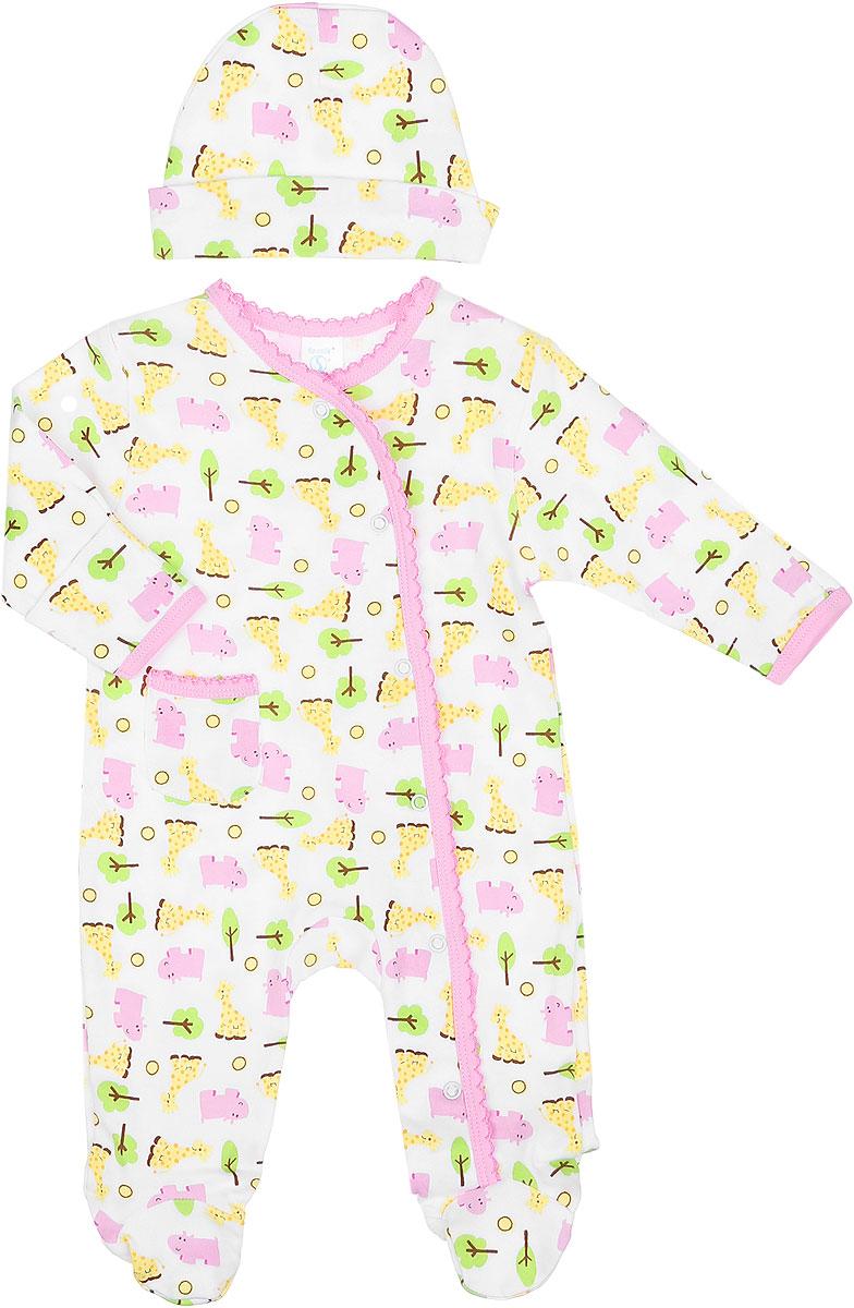 Комплект для девочки Spasilk: комбинезон, шапочка, цвет: белый, розовый, желтый, зеленый. SL A3P. Размер 67/72, 6-9 месяцевSL A3PКомплект одежды для девочки Spasilk, состоящий из комбинезона и шапочки, станет отличным дополнением к детскому гардеробу. Изготовленный из натурального хлопка, он очень мягкий и приятный на ощупь, не сковывает движения и позволяет коже дышать, обеспечивая комфорт.Комбинезон с круглым вырезом горловины, длинными рукавами и закрытыми ножками имеет застежки-кнопки от горловины до ступни, которые помогают легко переодеть малышку или сменить подгузник. На рукавах предусмотрены рукавички, благодаря которым ребенок не поцарапает себя. Ручки могут быть как открытыми, так и закрытыми. Спереди расположен накладной кармашек. Края изделия оформлены окантовкой с ажурными петельками. В таком комбинезоне спинка и ножки ребенка всегда будут в тепле, кроха будет чувствовать себя комфортно и уютно. Шапочка необходима любому младенцу, она защищает еще не заросший родничок, щадит чувствительный слух малыша, прикрывая ушки, а также предохраняет от теплопотерь. На модели предусмотрен декоративный отворот.Комплект оформлен ярким принтом.Комплект одежды полностью соответствует особенностям жизни ребенка в ранний период, не стесняя и не ограничивая его в движениях.