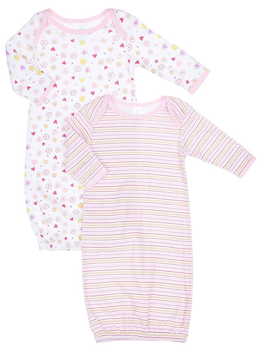 Ночная сорочка для девочки Spasilk, цвет: белый, розовый, красный, 2 шт. GO A1P. Размер S, 0-3 месяцаGO A1PНочная сорочка для девочки Spasilk - прекрасный выбор для сна и отдыха младенца. Изготовленная из натурального хлопка, она необычайно мягкая и приятная на ощупь, не сковывает движения малышки и позволяет коже дышать, не раздражает даже самую нежную и чувствительную кожу ребенка, обеспечивая ему наибольший комфорт. Сорочка с длинными рукавами и круглым вырезом горловины имеет запахи на плечах, что помогает с легкостью переодеть малышку. Понизу изделие дополнено широкой трикотажной резинкой. Свободный крой создает комфорт и уют малышке и сохраняет тепло.Ночная сорочка полностью соответствует особенностям жизни ребенка, не стесняя и не ограничивая его в движениях. В комплект входят две ночные сорочки с разными принтами.