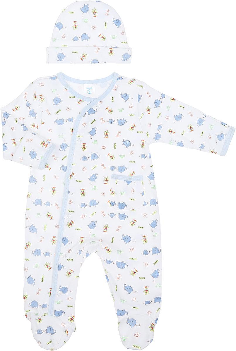 Комплект для мальчика Spasilk: комбинезон, шапочка, цвет: белый, голубой, салатовый. SL A7P. Размер 55/61, 0-3 месяцевSL A7PКомплект одежды для мальчика Spasilk, состоящий из комбинезона и шапочки, станет отличным дополнением к детскому гардеробу. Изготовленный из натурального хлопка, он очень мягкий и приятный на ощупь, не сковывает движения и позволяет коже дышать, обеспечивая комфорт.Комбинезон с круглым вырезом горловины, длинными рукавами и закрытыми ножками имеет застежки-кнопки от горловины до ступни, которые помогают легко переодеть малыша или сменить подгузник. На рукавах предусмотрены рукавички, благодаря которым ребенок не поцарапает себя. Ручки могут быть как открытыми, так и закрытыми. Спереди расположен накладной кармашек. Края изделия оформлены окантовкой. В таком комбинезоне спинка и ножки ребенка всегда будут в тепле, кроха будет чувствовать себя комфортно и уютно. Шапочка необходима любому младенцу, она защищает еще не заросший родничок, щадит чувствительный слух малыша, прикрывая ушки, а также предохраняет от теплопотерь. На модели предусмотрен декоративный отворот.Комплект оформлен принтом с изображением слоников и пальм, а также принтовыми надписями.Комплект одежды полностью соответствует особенностям жизни ребенка в ранний период, не стесняет и не ограничивает его в движениях.