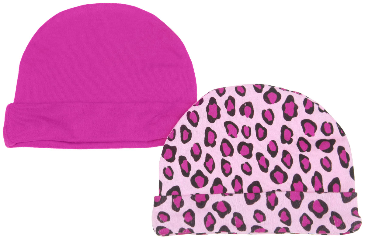 Шапочка для девочки Luvable Friends, цвет: розовый, малиновый, черный, 2 шт. 34550. Размер 55/67, 0-6 месяцев34550Комфортная шапочка Luvable Friends станет отличным дополнением к гардеробу малышки. Изделие изготовлено из натурального хлопка, мягкое и приятное на ощупь, позволяет коже дышать. На шапочке предусмотрен декоративный отворот.В комплект входят две шапочки. Одна модель оформлена леопардовым принтом, вторая - однотонная.Шапочка необходима любому младенцу, она защищает еще не заросший родничок, щадит чувствительный слух малыша, прикрывая ушки, а также предохраняет от теплопотерь. В такой шапочке ваш ребенок будет чувствовать себя уютно и комфортно!