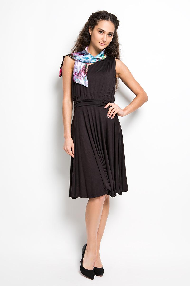 Платье Karff, цвет: черный. LD 009-01. Размер L (48)LD 009-01Прелестное трикотажное платье Karff подчеркнет ваш уникальный стиль и поможет создать оригинальный женственный образ. Модель прилегающего покроя с широкой юбкой оснащена лямкой на одно плечо. На линии талии и на плечевом шве платье дополнено декоративной сборкой, за счет этого оно красиво драпируется. Модель украшена драпированной вставкой на талии. В комплект входит ярким шарфик, который дополнит образ. Такое платье станет стильным дополнением к вашему гардеробу.