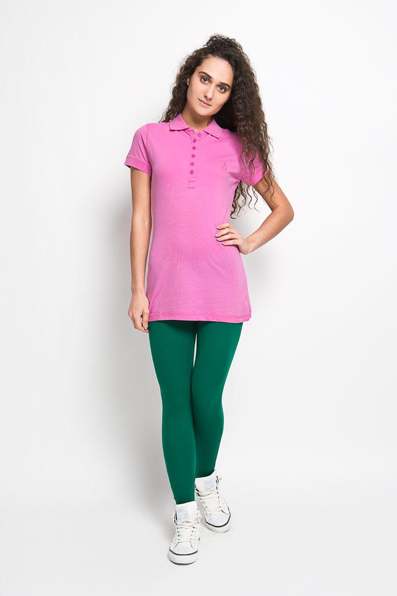 Поло женское Karff, цвет: розовый. 55552-04. Размер L (48)55552-04Стильная женская футболка-поло Karff, изготовленная из высококачественного эластичного хлопка, обладает высокой теплопроводностью, воздухопроницаемостью и гигроскопичностью, позволяет коже дышать.Модель с короткими рукавами и отложным воротником - идеальный вариант для создания оригинального современного образа. Спереди футболка-поло застегивается на 6 пуговиц. Однотонная футболка, оформленная небольшой вышивкой в цвет, будет великолепно сочетаться с любыми нарядами.Такая модель подарит вам комфорт в течение всего дня и послужит замечательным дополнением к вашему гардеробу.