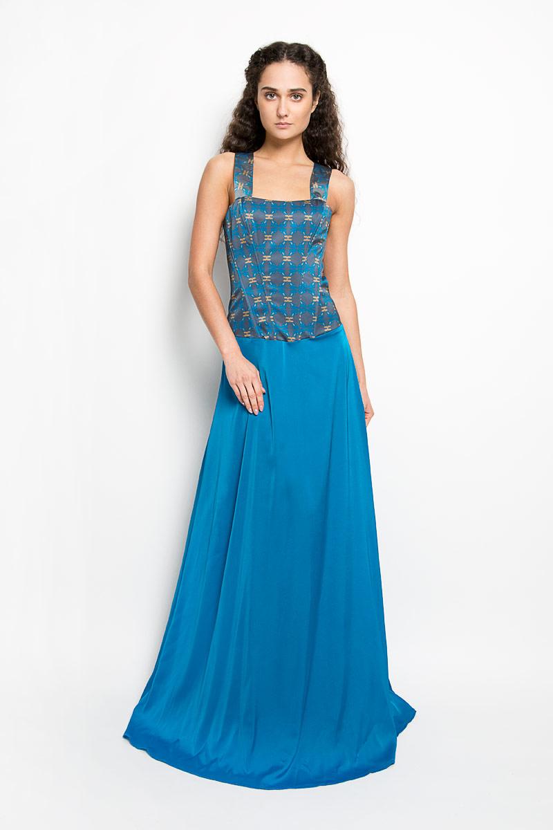 Платье Анна Чапман, цвет: голубой, темно-серый, горчичный. P38A-C11. Размер 44P38A-C11Великолепное платье Анна Чапман, выполненное из нежнейшей ткани, покорит вас с первого взгляда. Застегивается модель на застежку-молнию. Верх платья, выполненный в виде корсета, идеально облегает фигуру. Платье имеет пришивную расклешенную юбку-макси. Модель оснащена двумя лямками, которые пересекаются на спине. Верхняя часть платья украшена оригинальным орнаментом с изображением лягушек. Такое платье станет стильным дополнением к вашему гардеробу.