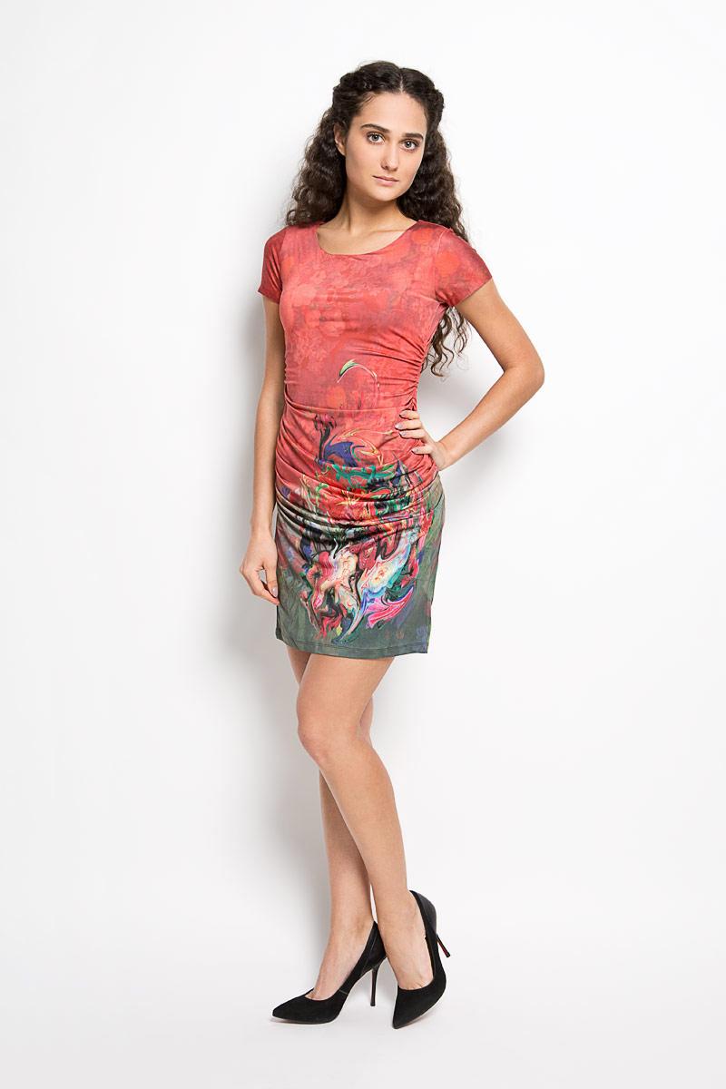Платье Karff, цвет: темно-красный, темно-зеленый, фиолетовый. LD 006-01. Размер S (44)LD 006-01Прелестное трикотажное платье Karff подчеркнет ваш уникальный стиль и поможет создать оригинальный женственный образ. Модель облегающего покроя с круглым вырезом горловины и короткими рукавами оформлена цветочным принтом. По бокам модель дополнена вертикальной сборкой, за счет которой изделие красиво драпируется. Такое платье станет стильным дополнением к вашему гардеробу.